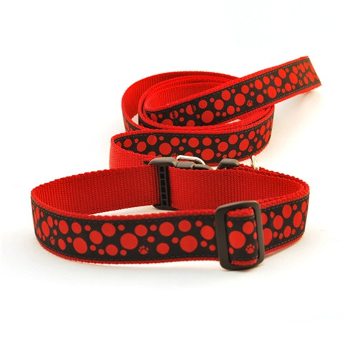 Polka Paws--Red on Black (Narrow Harness)