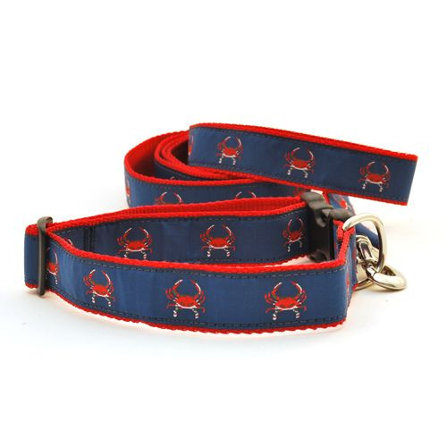Crab--Red on Navy (Wide Leash)