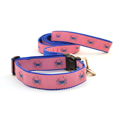 Crab--Blue on Pink (Narrow Collar)