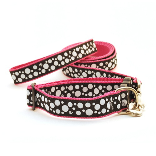 Polka Paw--White on Black (Toy Leash)