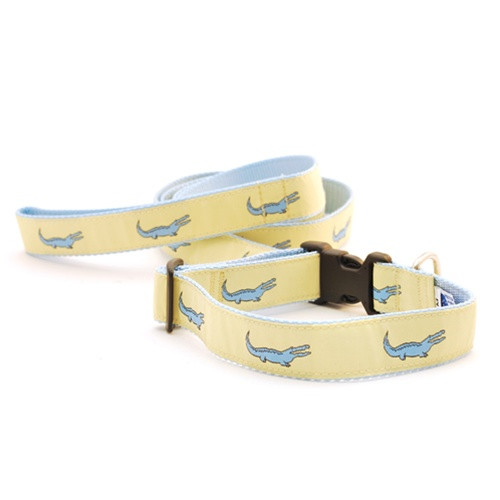 Alligator--Blue on Yellow (Wide Harness)