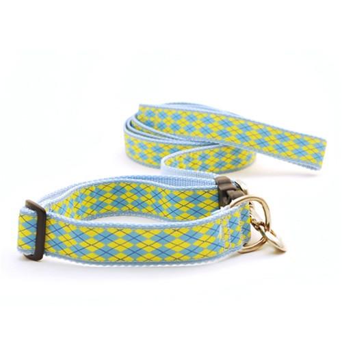 Argyle--Light Blue & Yellow (Narrow Martingale)