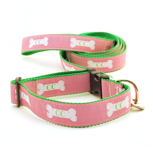 Cape Cod Dog Bone on  Raspberry (Toy Collar)