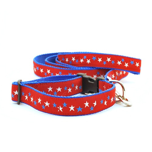 Patriotic Stars on Red (Wide Leash)