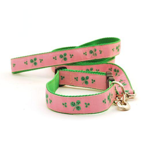 Shamrock--Green on Pink (Wide Leash)