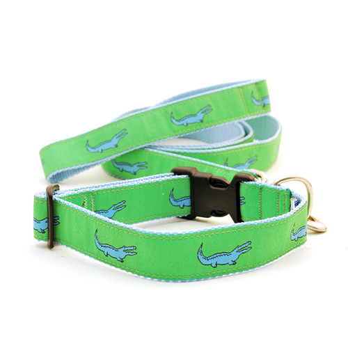 Alligator -- Blue on Green (Leashes)