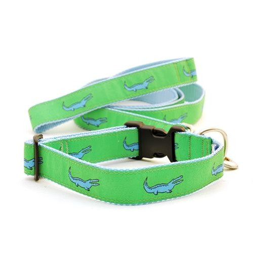 Alligator--Blue on Green (Wide Harness)
