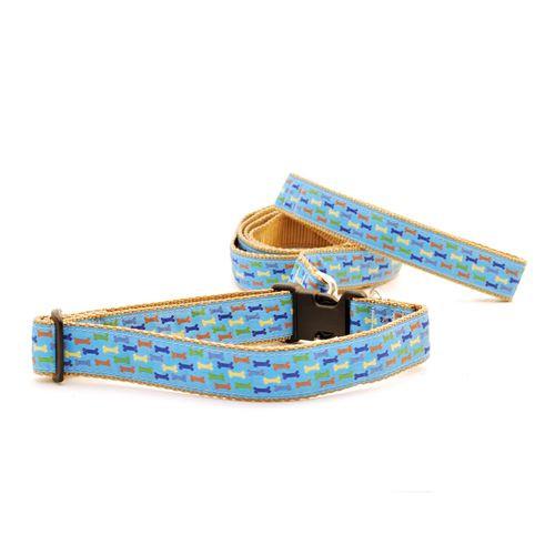Dog Bones on Blue (Narrow Roman Harness)