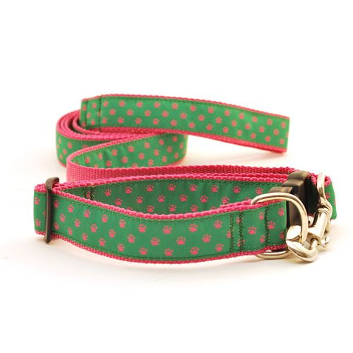 Paws--Pink on Green (Wide Leash)