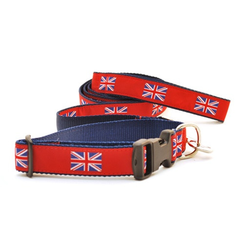 British Flag on Red (Wide Collar)