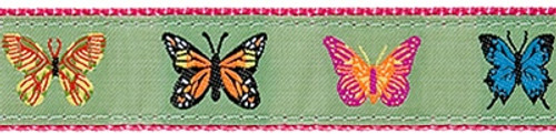 Four Butterflies on Light Green (Narrow Collar)