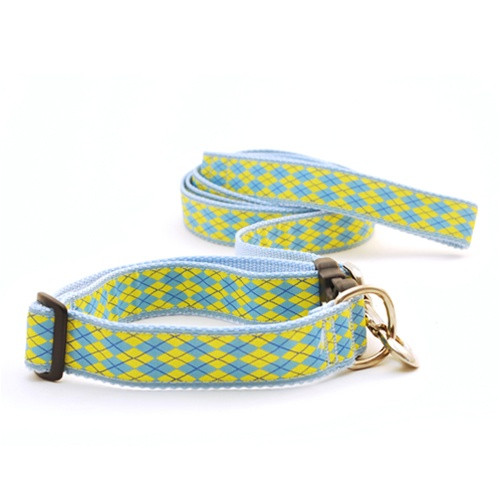 Argyle--Light Blue & Yellow (Collars & Martingales)
