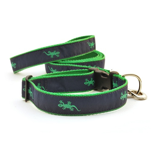 Gecko--Green on Navy (Wide Collar)