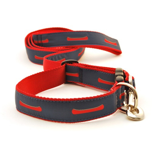 Canoes--Red on Navy (Wide Martingale)