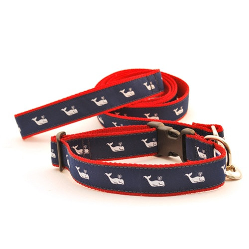 Whale--White on Navy (Toy Collar)