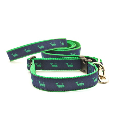 Whale--Green on Navy (Toy Leash)