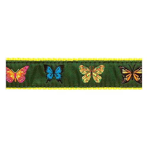 Four Butterflies on Dark Green (Narrow Collar)