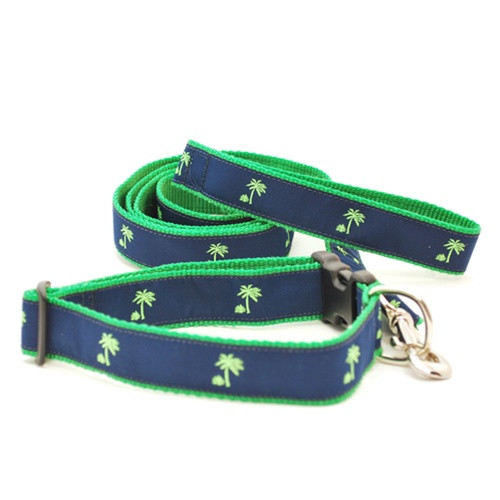 Palm Tree on Navy (Wide Leash)