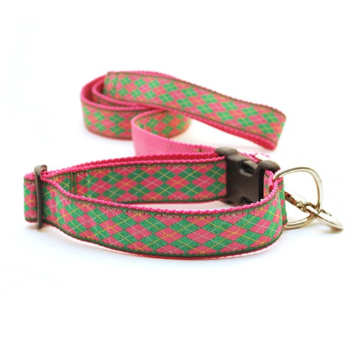 Argyle--Pink & Green (Narrow Collar)