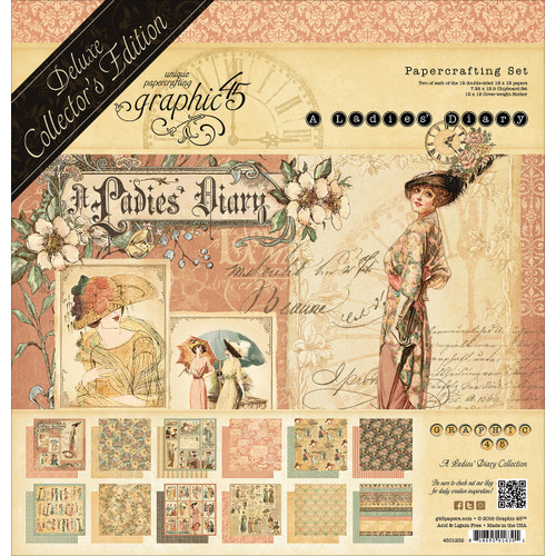 """Graphic 45 A Ladies' Diary 12""""x12"""" Deluxe Collector's Edition Paper Pack"""