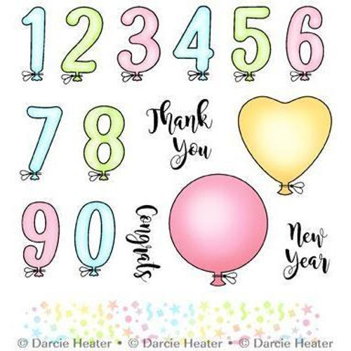 Darcie's Heart & Home Balloon Numbers Cling Mounted Rubber Stamp Set