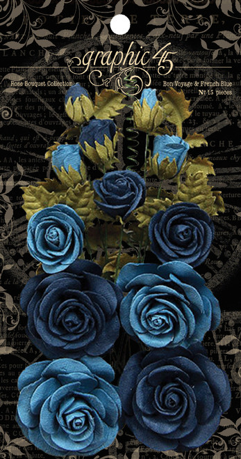 Graphic 45 Bon Voyage & French Blue Rose Bouquet Collection