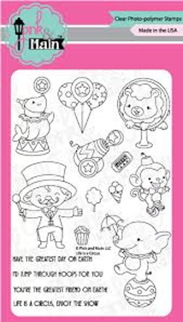 Pink & Main Life is a Circus Clear Stamp Set