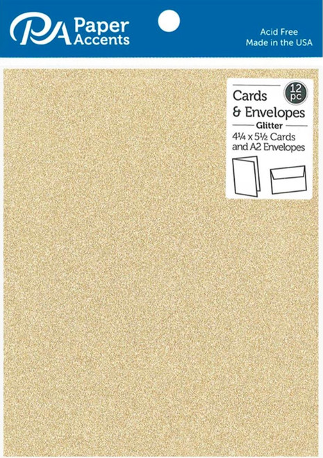 Paper Accents 4 1/4 x 5 1/2 in. Blank Card & Envelopes 12 pc. Glitter Light Gold