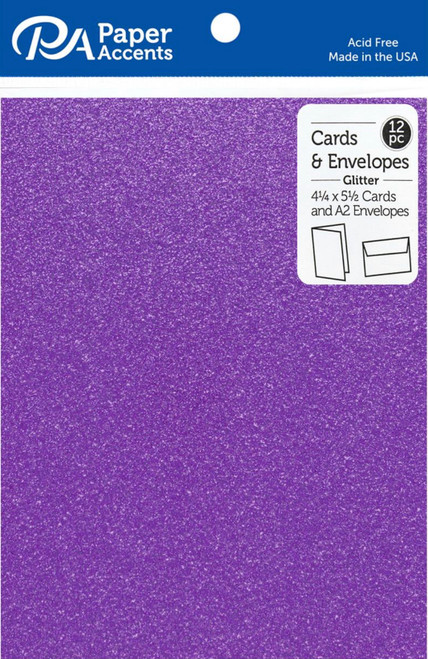 Paper Accents 4 1/4 x 5 1/2 in. Blank Card & Envelopes 12 pc. Glitter Grape Jam