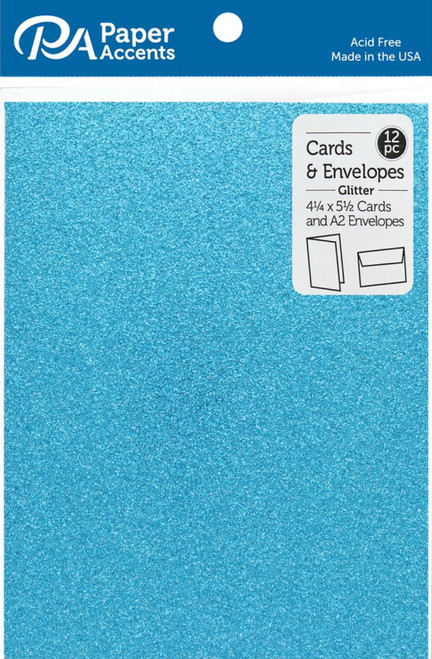 Paper Accents 4 1/4 x 5 1/2 in. Blank Card & Envelopes 12 pc. Glitter Ocean Blue