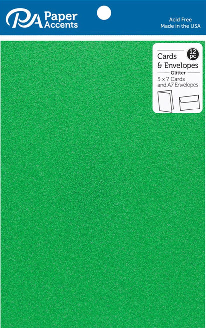 Paper Accents 5 x 7 in. Blank Card & Envelopes 12 pc. Glitter Green
