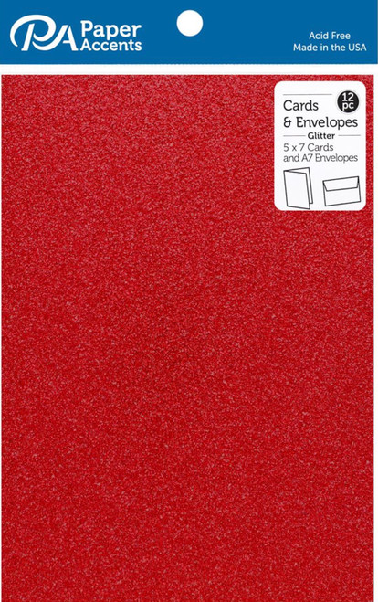 Paper Accents 5 x 7 in. Blank Card & Envelopes 12 pc. Glitter Red
