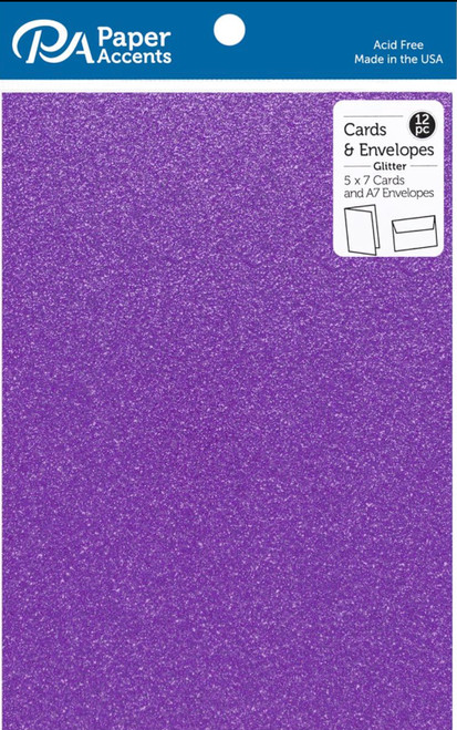 Paper Accents 5 x 7 in. Blank Card & Envelopes 12 pc. Glitter Purple