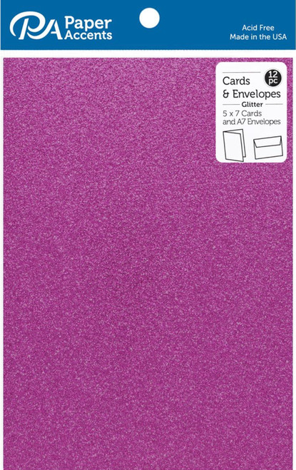 Paper Accents 5 x 7 in. Blank Card & Envelopes 12 pc. Glitter Grape Jam
