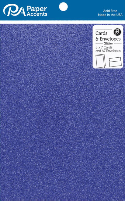 Paper Accents 5 x 7 in. Blank Card & Envelopes 12 pc. Glitter Jewel Blue
