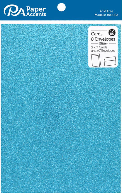 Paper Accents 5 x 7 in. Blank Card & Envelopes 12 pc. Glitter Ocean Blue