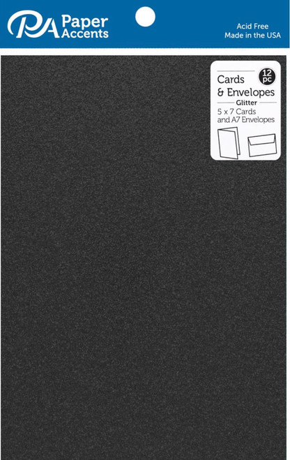 Paper Accents 5 x 7 in. Blank Card & Envelopes 12 pc. Glitter Black