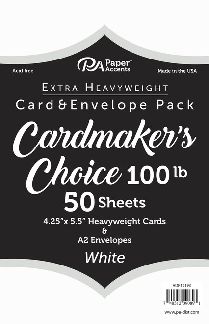 Paper Accents 4 1/4  x 5 1/2 in. Blank Card & Envelopes White 100 lb 50 Sheets