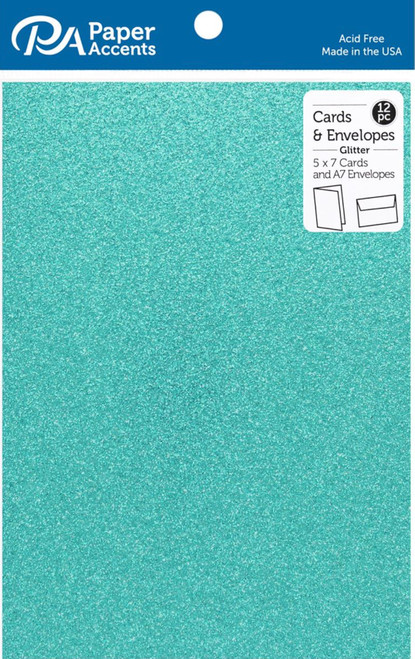 Paper Accents 5 x 7 in. Blank Card & Envelopes 12 pc. Glitter Prussian Blue