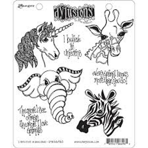 Ranger Dylusions I Believe In Unicorns Cling Stamp