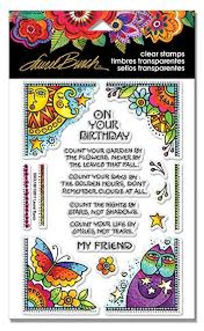 Stampendous Laurel Burch Birthday Corners Stamp