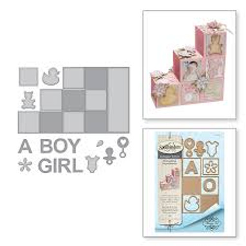 Spellbinders Thoughtful Expressions Baby Step Block Card Die Set
