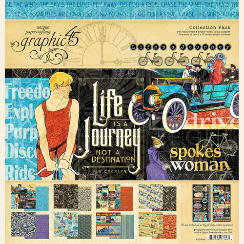 Graphic 45 Life's a Journey Collection Pack 12 x 12