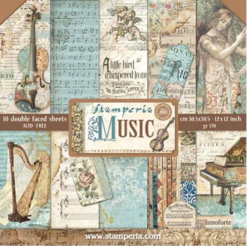 """Stamperia Music Paper Pack 12"""" x 12"""""""
