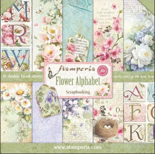 """Stamperia Flower Alphabet Paper Pack 12"""" x 12"""""""