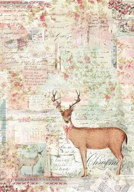 Stamperia A4 Rice Paper Pink Christmas Reindeer