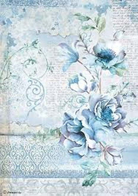 Stamperia  A4 Rice Paper Blue Land Flower