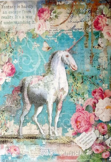 Stamperia  A4 Rice Paper Wonderland Unicorn