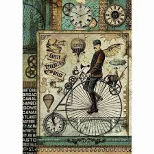 Stamperia  A4 Rice Paper  Voyages Fantastiques Retro Bicycle
