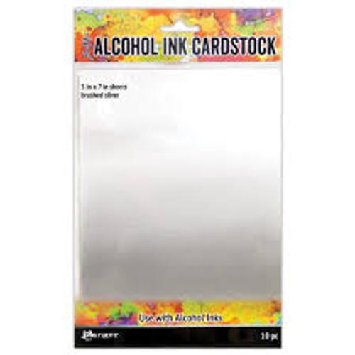 Tim Holtz Alcohol Ink Cardstock Brushed Silver